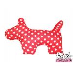 ตุ๊กตาผ้าสุนัข สีแดงลายจุดขาว