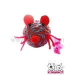 ของเล่นแมว ตุ๊กตาหนูเชือกสาน ม่วงแดง