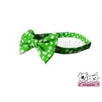 ปลอกคอสุนัขหูกระต่าย สีเขียวจุดขาว